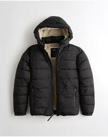 Hollister Recycled Fill Sherpa-Lined Hooded Puffer