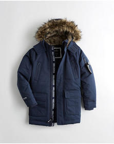 Hollister Down-Blend Parka, NAVY