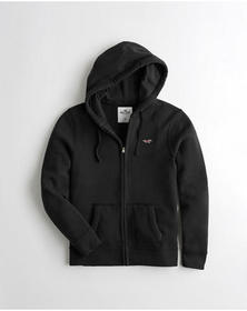 Hollister Full-Zip Icon Hoodie, BLACK