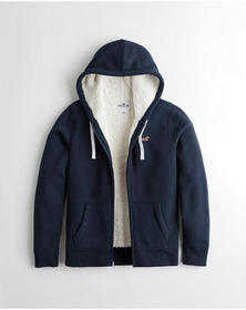 Hollister Sherpa-Lined Full-Zip Hoodie, NAVY WITH