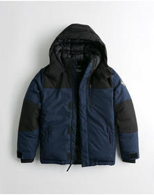 Hollister Hooded Puffer Jacket, NAVY AND BLACK