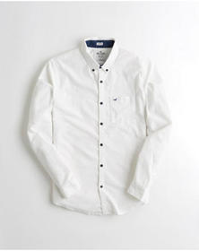 Hollister Stretch Oxford Shirt, WHITE