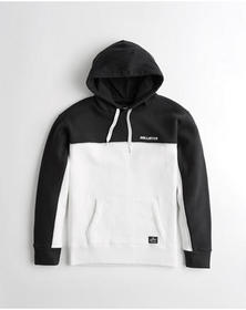 Hollister Colorblock Logo Hoodie, BLACK AND WHITE