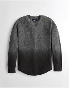 Hollister Dip-Dye Crewneck Sweater, DARK GREY AND