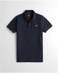 Hollister Stretch Muscle Fit Polo, NAVY