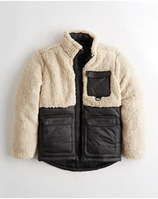 Hollister Sherpa Mockneck Utility Jacket, CREAM AN