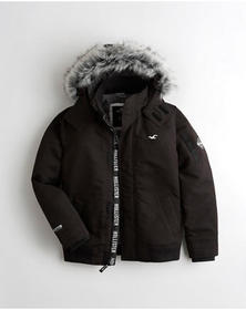 Hollister Sherpa-Lined Hooded Bomber Jacket, BLACK