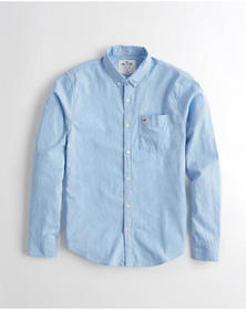 Hollister Stretch Poplin Shirt, LIGHT BLUE