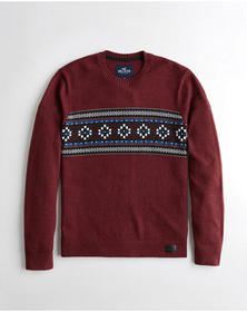Hollister Patterned Crewneck Sweater, HEATHER BURG