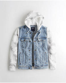 Hollister Stretch Hooded Denim Jacket, RIPPED SUPE