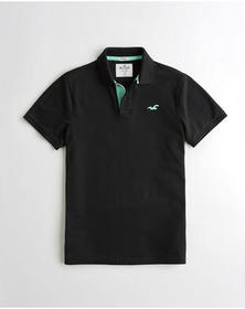 Hollister Stretch Icon Polo, BLACK WITH MINT