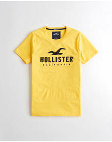 Hollister Muscle Fit Logo Graphic Tee, YELLOW