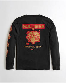 Hollister Limited-Edition Graphic Tee, BLACK WITH