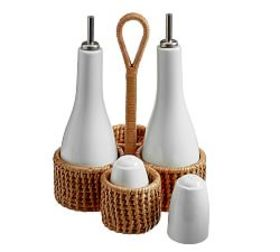 Pottery Barn Jordan Woven & Ceramic Cruet Salt & P