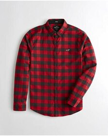 Hollister Stretch Oxford Slim Fit Shirt, RED CHECK