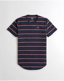 Hollister Stripe Curved Hem T-Shirt, NAVY STRIPE