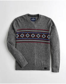 Hollister Patterned Crewneck Sweater, DARK HEATHER