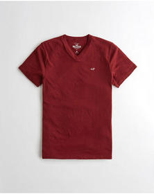Hollister Must-Have V-Neck T-Shirt, BURGUNDY