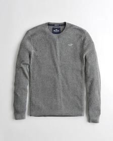 Hollister Muscle Fit Crewneck Sweater, NAVY