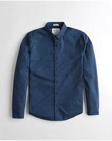 Hollister Oxford Muscle Fit Shirt, NAVY