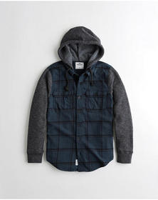 Hollister Hooded Flannel Shirt, NAVY PLAID