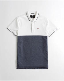 Hollister Stretch Slim Fit Polo, WHITE AND HEATHER