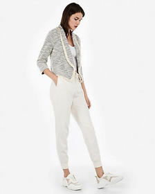 Express frayed marled tweed knit cropped blazer