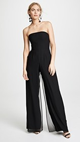 Halston Heritage Strapless Jumpsuit with Flowy Pan