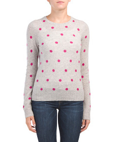 CYNTHIA ROWLEY Cashmere Polka Dot Pullover Sweater
