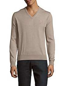 Versace Collection Solid Wool V-Neck Sweater BEIGE