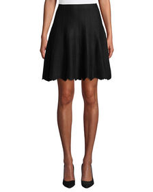 Neiman Marcus Scalloped Flared Knit Skirt