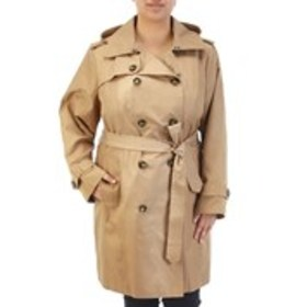 LONDON FOG Plus Size Hooded Belted Double Breasted