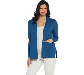 LOGO by Lori Goldstein Open-Front Cardigan With Po