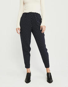 Tapered Crepe Pants, NAVY BLUE PATTERN