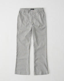 Cropped Ankle Flare Menswear Pants, CREAM PLAID
