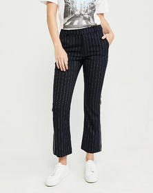 Cropped Ankle Flare Menswear Pants, NAVY BLUE STRI
