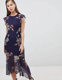 Hope & Ivy Floral Lattice Back Pencil Dress with R