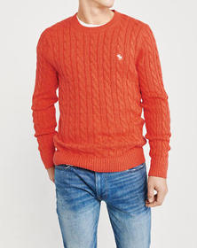 Icon Cable Knit Sweater, ORANGE