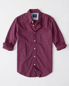 Gingham Icon Poplin Shirt, RED AND NAVY CHECK