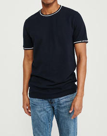Ribbed-Accent Logo Tee, NAVY BLUE