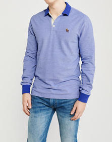 Long-Sleeve Icon Polo, HEATHER LIGHT BLUE