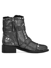 Sam Edelman Drea Studded Suede Booties PEWTER