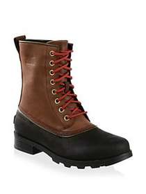 Sorel Emelie Lace-Up Leather Booties RED WOOD BLAC