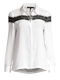 Maje Lace Trim Satin Blouse ECRU