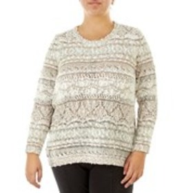 PINA ROSSI Plus Size Patterned Sweater with Sequin