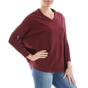 V Neck Grommet Accented Poncho