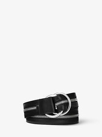 Michael Kors Zip Calf Leather Double-Ring Belt