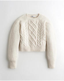 Hollister Cable Crewneck Sweater, WHITE