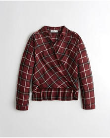 Hollister Wrap-Front Plaid Shirt, BURGUNDY PLAID