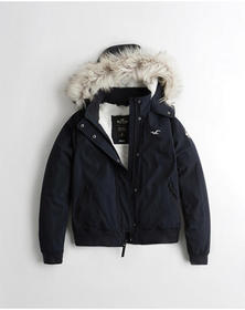 Hollister Cozy-Lined Hooded Bomber Jacket, NAVY